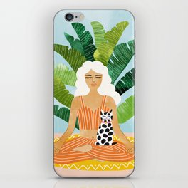 Meditation With Thy Cat #illustration #painting iPhone Skin
