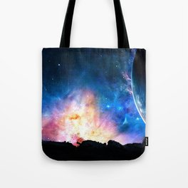 over the galaxy Tote Bag