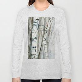 Winter Birch Trees Woodland Watercolor Original Art Print Long Sleeve T-shirt