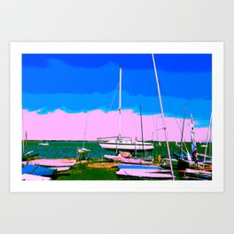 Boats Pink Blush Art Print