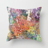 london map Throw Pillows featuring London map  by mark ashkenazi