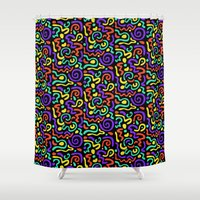 90s Shower Curtains featuring 90s Swirls by Three Pea