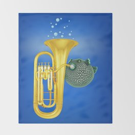 Puffer Fish Playing Tuba Throw Blanket
