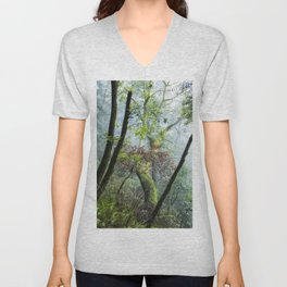 Fog, Contrasts, and Moss Covered Trunks Along the Humbug Mountain Trail Unisex V-Neck