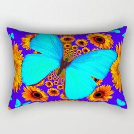 Turquoise Butterflies Golden Sunflowers Blue Abstract Rectangular Pillow