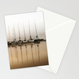 Boats moored in fog Stationery Cards