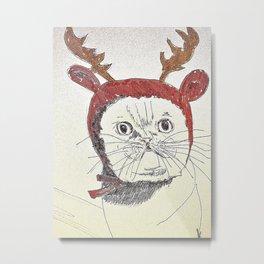cat reindeer Metal Print
