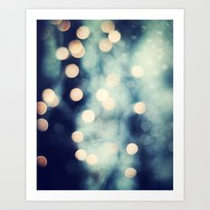 Bokeh Lights Sparkle Photography, Navy Gold Sparkly Abstract Photograph Art Print