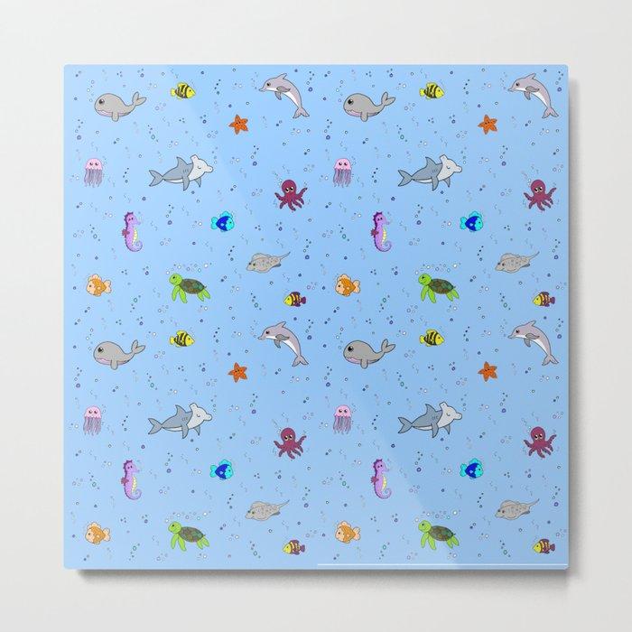 Sea creature pattern Metal Print