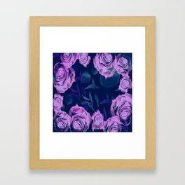 Floating roses with petals Framed Art Print