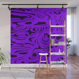 Juicy flowing spots of violet lines on black. Wall Mural
