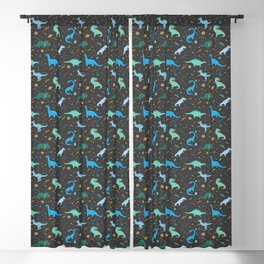 Dinosaurs in Space in Blue Blackout Curtain