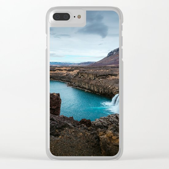 Lake Mountain sky blue Clear iPhone Case