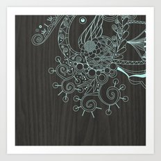 Tangle on dark wood Art Print