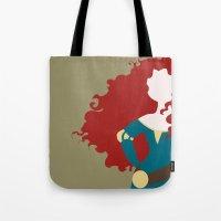 merida Tote Bags featuring Merida by Dewdroplet