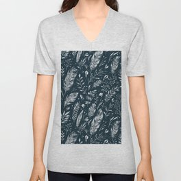 Feathers And Leaves Abstract Pattern Black And White Unisex V-Neck