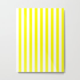Narrow Vertical Stripes - White and Yellow Metal Print
