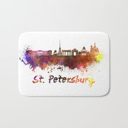 Saint Petersburg skyline in watercolor Bath Mat