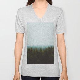 Misty Pine Forest Green Blue Hues Minimalist Photography Unisex V-Neck