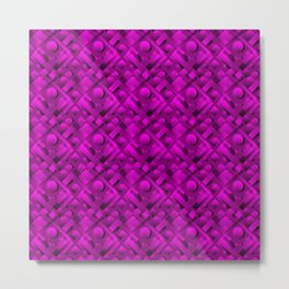 Volumetric design with interlaced circles and violet rectangles of stripes. Metal Print