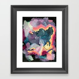 Hedgehog in a Space Nebula Framed Art Print