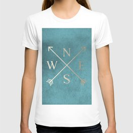 Gold on Turquoise Distressed Compass Adventure Design T-shirt