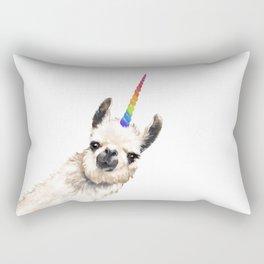 Sneaky Unicorn Llama White Rectangular Pillow