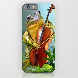 Realistic Print of Frog Playing Cello iPhone Case