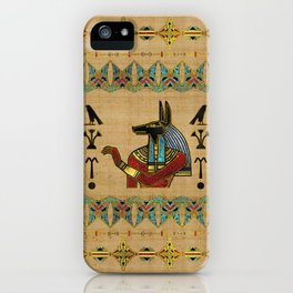 Egyptian Anubis Ornament on papyrus iPhone Case