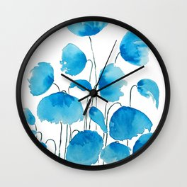 blue poppy field watercolor Wall Clock
