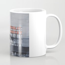 Pike Place Market - Black & White & Neon -Seattle Washginton Coffee Mug