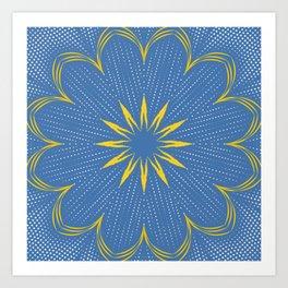 Yellow Sunbeam Mandala Art Print
