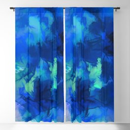 Inky Blue Foliage Blackout Curtain