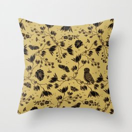 Orchid Owl Yellow Throw Pillow