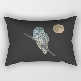 Owl, See the Moon (Barred Owl) Rectangular Pillow