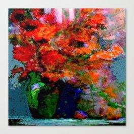 GREEN VASE REDDISH POPPIES STILL LIFE ART Canvas Print