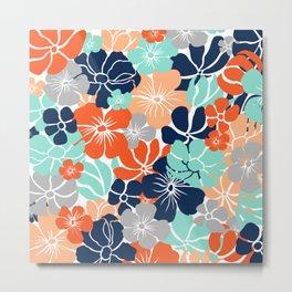 Fun, Floral Prints, Orange, Turquoise, Navy, Gray, Colourful Prints Metal Print