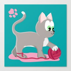 Kitten number 1 of 3 silver cats Canvas Print