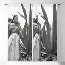 Frida Kahlo and Agave Plant, Black and White, Vintage Art Blackout Curtain