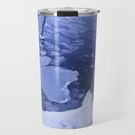 Water And Ice Surround Young Trees Travel Mug