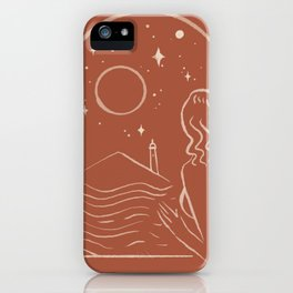 Abstraction Outline moon star Window woman  iPhone Case