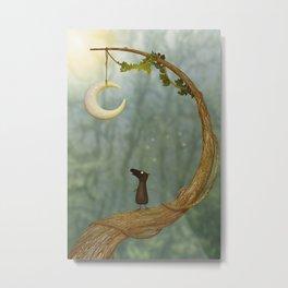 Raven Loves The Moon - Whimsical Artwork Metal Print