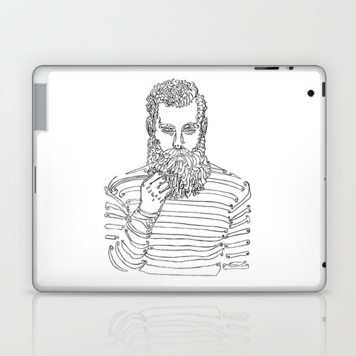 Beard man with a pipe laptop ipad skin