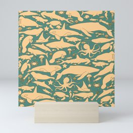 Minimalist, yellow and blue pattern of sea animals Mini Art Print