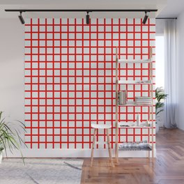 Grid (Classic Red & White Pattern) Wall Mural