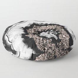 Gray Black White Agate with Rose Gold Glitter #3 #gem #decor #art #society6 Floor Pillow