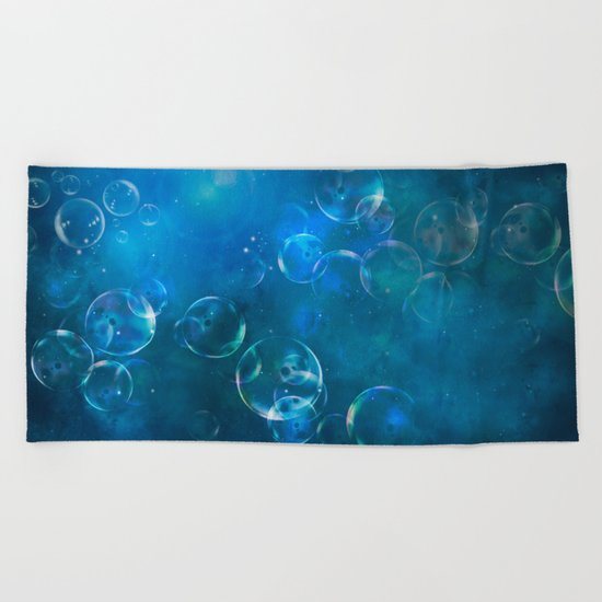 floating bubbles blue watercolor space background Beach Towel