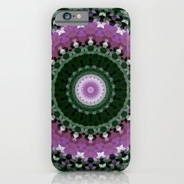 green mandala, kaleidoscope, green, mandala, green and purple, ethnic iPhone Case