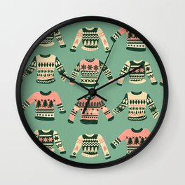 Christmas Sweaters – Vintage Blush Mint Palette Wall Clock