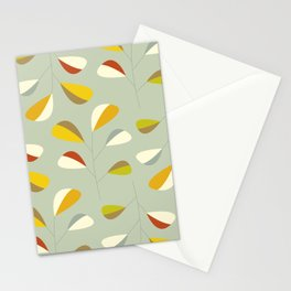 Mid Century Modern Graphic Leaves Pattern 1. Vintage green Stationery Cards